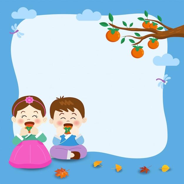 Chuseok, koreanisches mittherbstfest-banner, illustration des niedlichen jungen Premium Vektoren