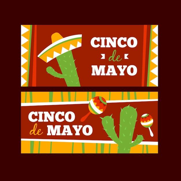 Cinco de mayo banner flaches design Kostenlosen Vektoren