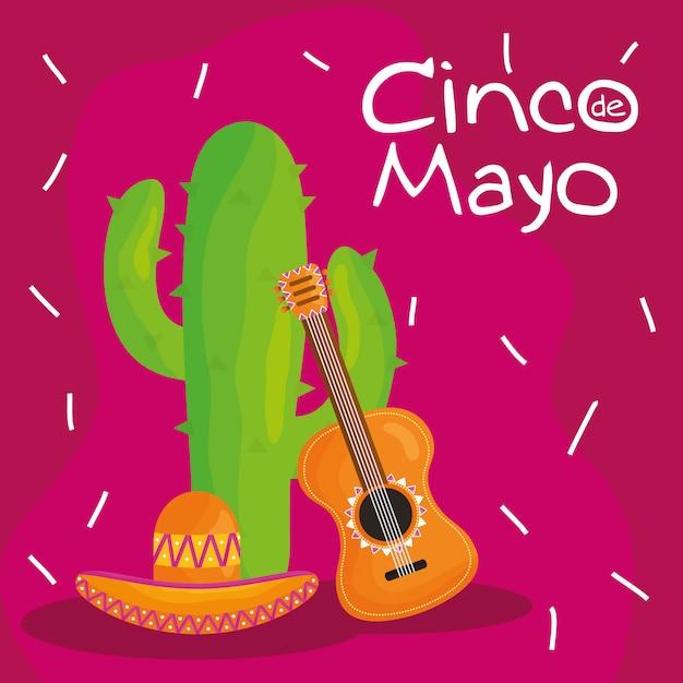 Cinco de mayo feier mit gitarre und kaktus Premium Vektoren