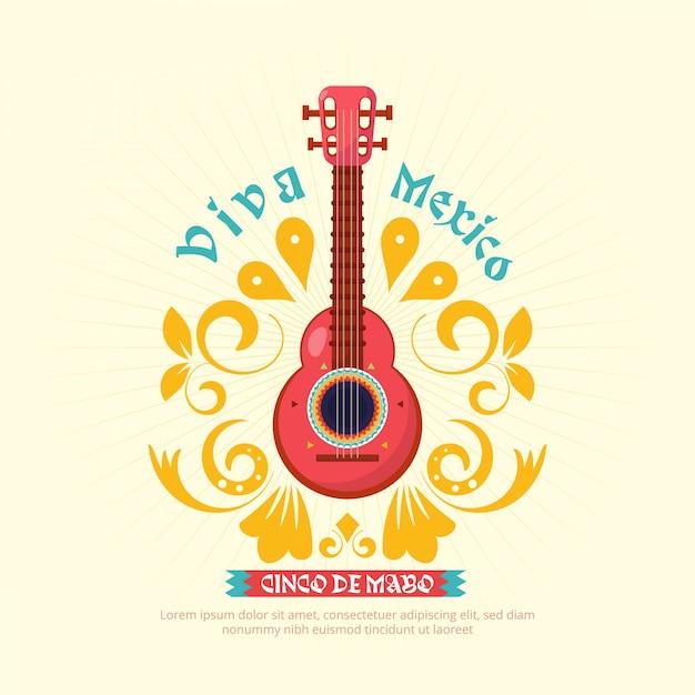 Cinco de mayo gitarrenhintergrund mit verzierung Premium Vektoren