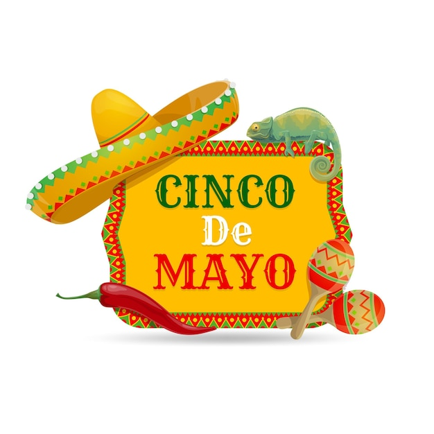 Cinco de mayo ikone mit traditionellen mexikanischen symbolen sombrero hut Premium Vektoren