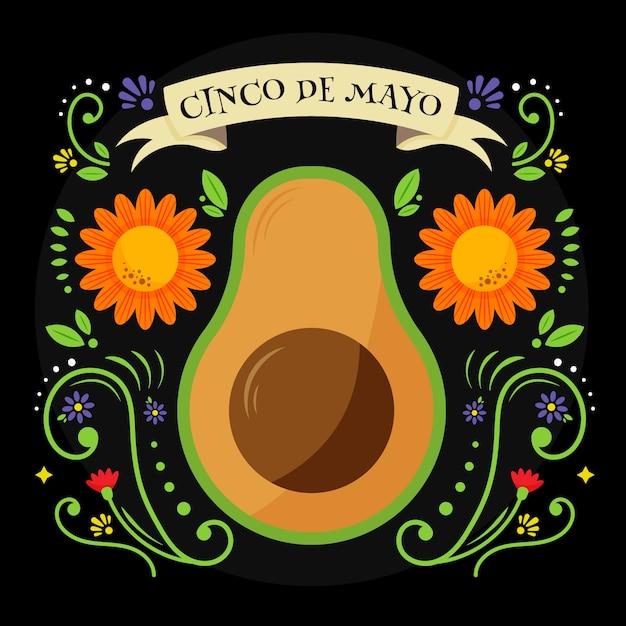 Cinco de mayo mit avocado und blumen Kostenlosen Vektoren