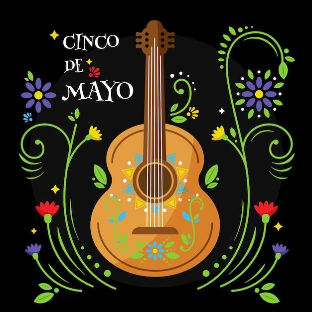 Cinco de mayo mit blumen und gitarre Kostenlosen Vektoren