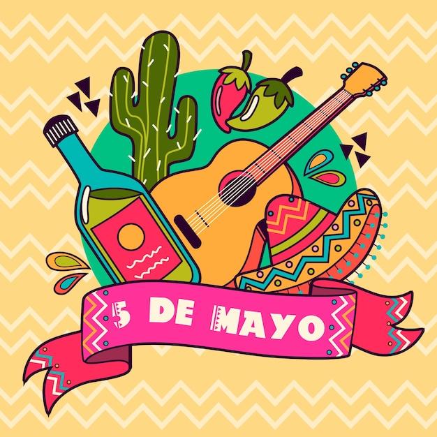Cinco de mayo mit gitarre und hut Kostenlosen Vektoren