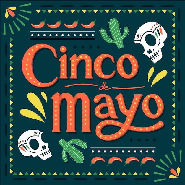 Cinco de mayo mit kaktus und schädeln Kostenlosen Vektoren