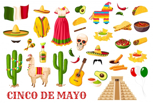 Cinco de mayo traditionelle mexikanische feiertagssymbole Premium Vektoren