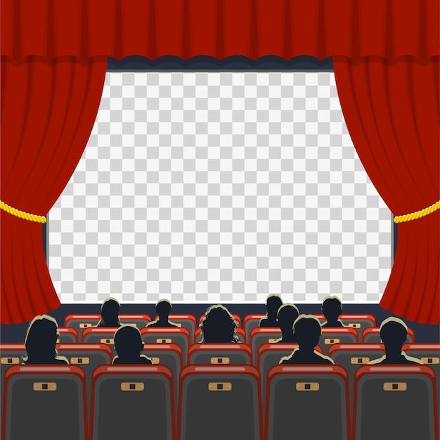 Cinema auditorium icons mit sitzplätzen, publikum und transparentem bildschirm, Premium Vektoren