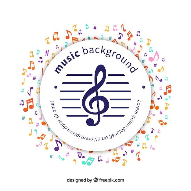 Circular aufkleber hintergrund mit bunten musikalischen notizen Kostenlosen Vektoren