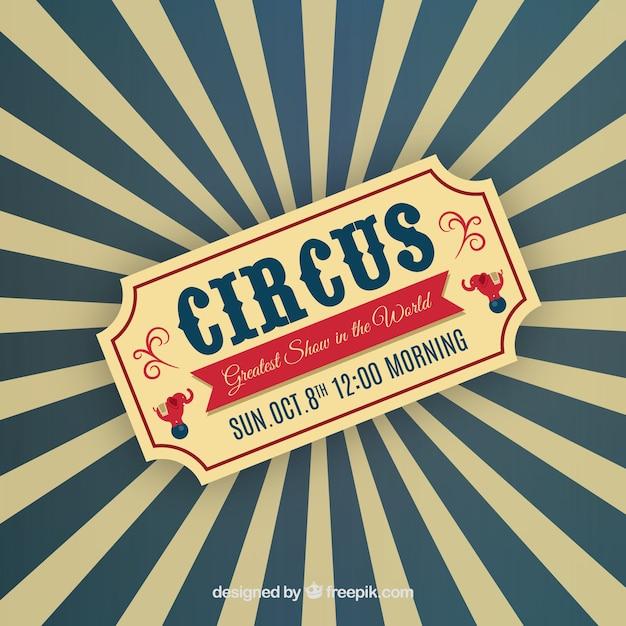 Circus ticket auf sunburst hintergrund Kostenlosen Vektoren