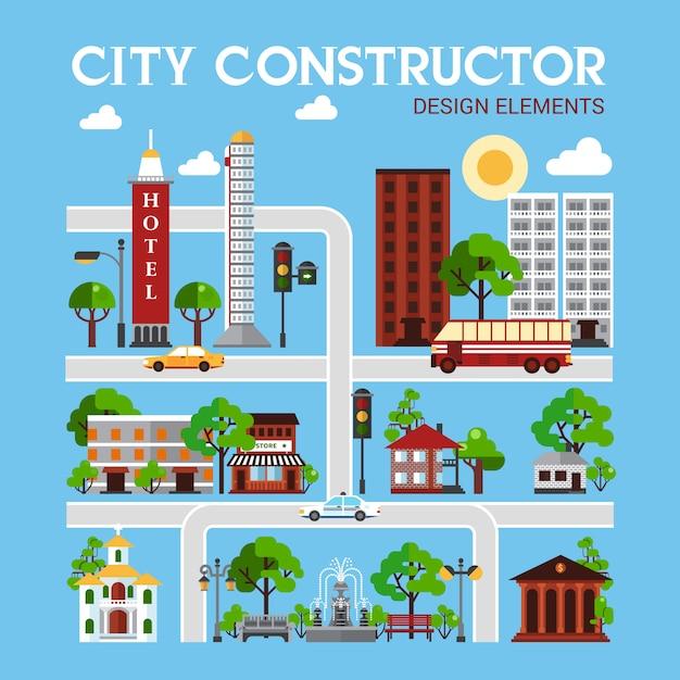 City constructor design-elemente Kostenlosen Vektoren