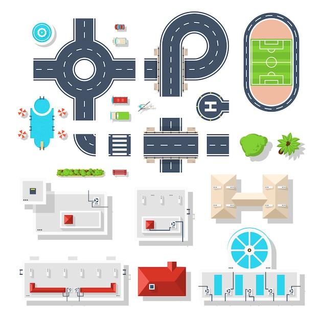 City element-draufsichtsatz Kostenlosen Vektoren
