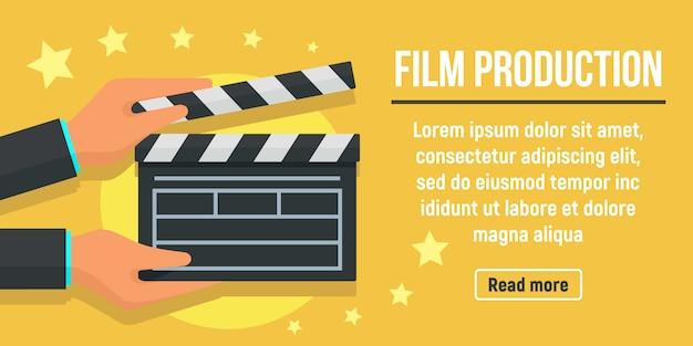 City filmproduktion banner, flachen stil Premium Vektoren
