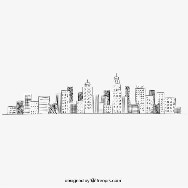 Cityscape in hand gezeichnet stil Kostenlosen Vektoren