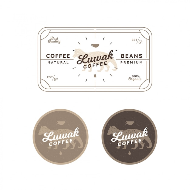Civet coffee label und emblem Premium Vektoren