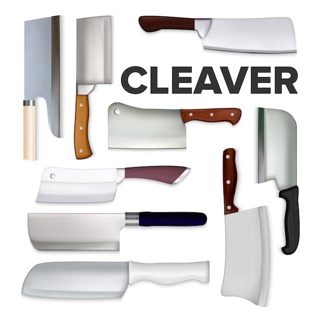 Cleaver großes fleischmesser-sammlungsset Premium Vektoren