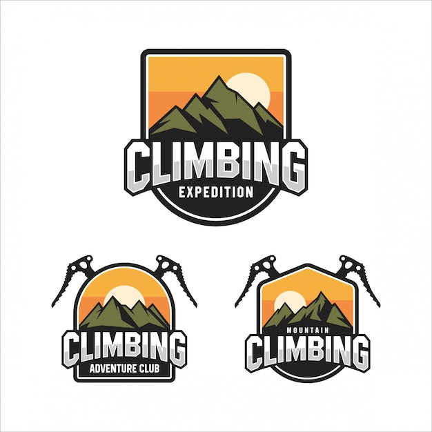 Climbing mountain adventure club logo Premium Vektoren