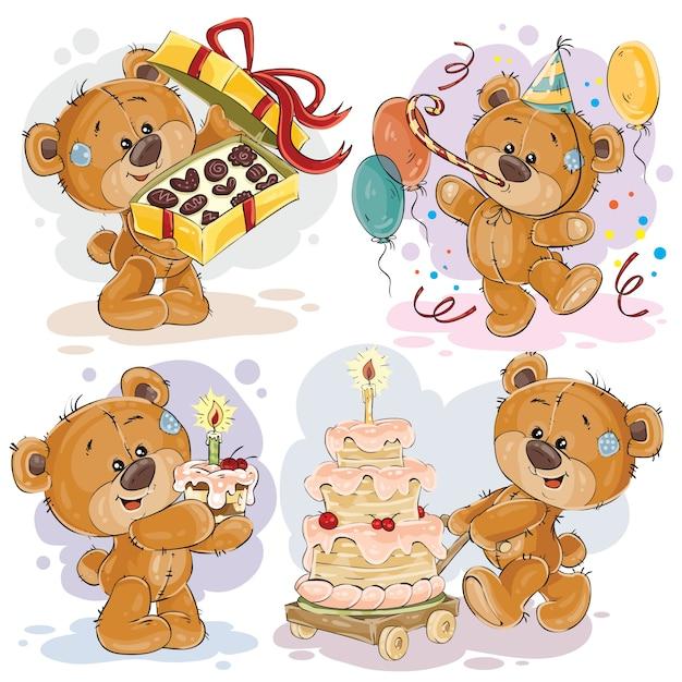 Clip Art Illustrationen von Teddybär wünscht Ihnen einen glücklichen Geburtstag Kostenlose Vektoren
