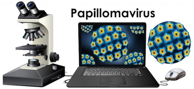Close up isoliertes objekt des virus namens papillomavirus Kostenlosen Vektoren