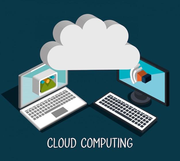 Cloud-computing-abbildung Kostenlosen Vektoren