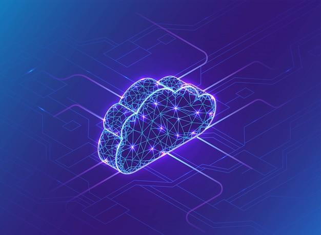 Cloud-computing-konzept, neonlicht, verbindungsnetz Premium Vektoren