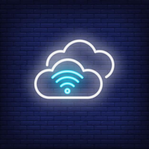 Cloud computing leuchtreklame Kostenlosen Vektoren