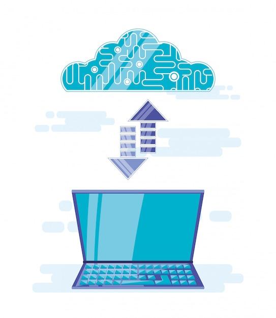 Cloud-computing mit dem laptop Premium Vektoren