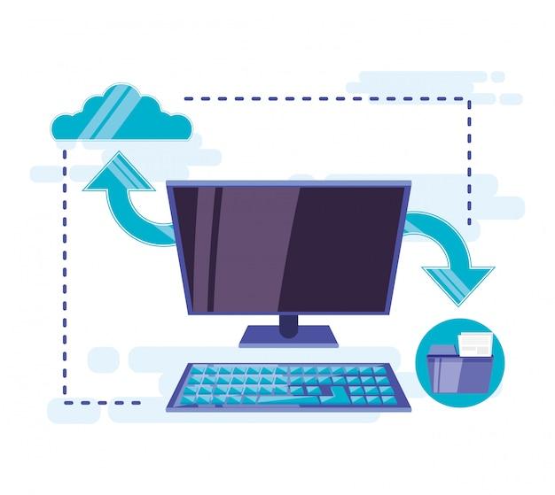Cloud computing mit desktop Premium Vektoren