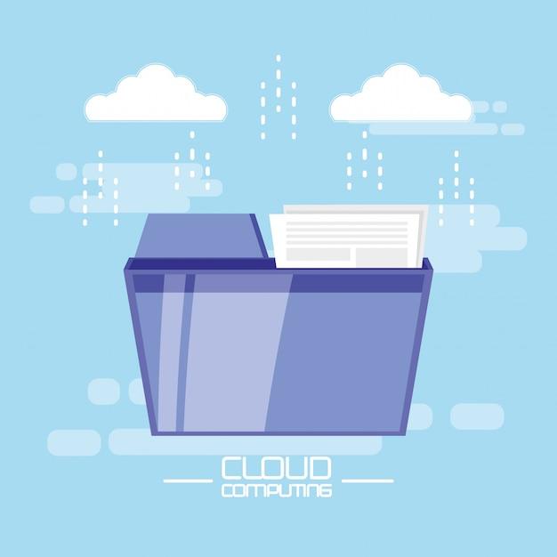 Cloud-computing mit dokumentenordner Premium Vektoren