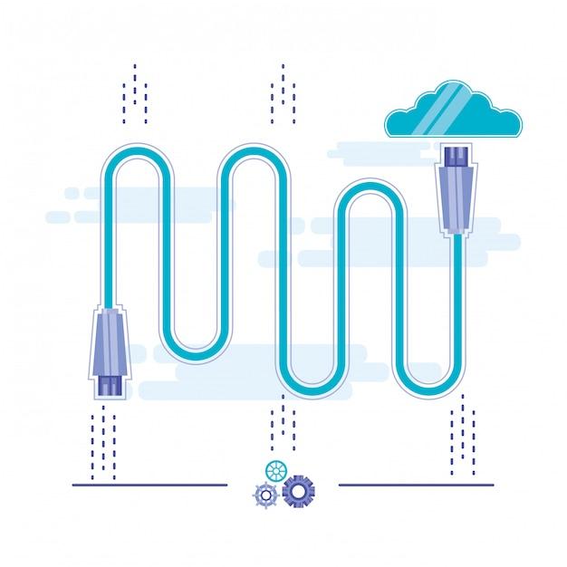 Cloud computing mit netzwerkverbindung Premium Vektoren