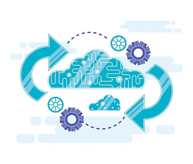 Cloud computing mit pfeilen aktualisieren Premium Vektoren