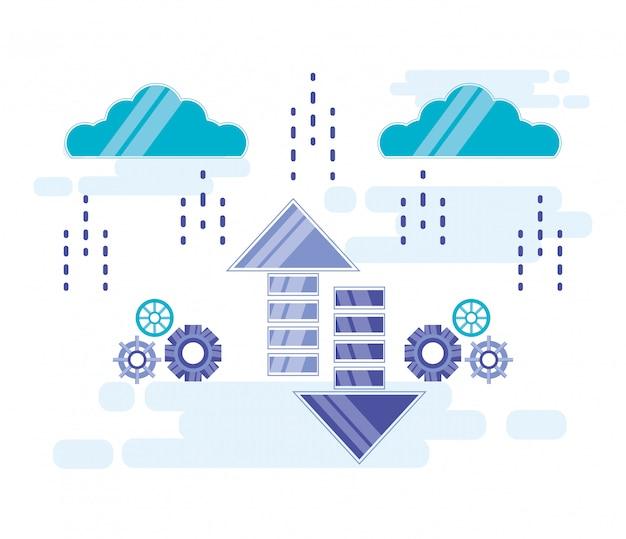 Cloud computing mit pfeilen auf und ab Premium Vektoren