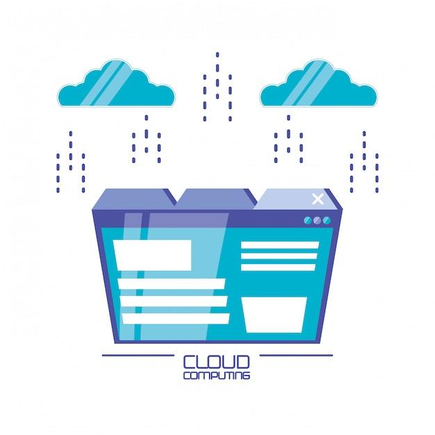 Cloud-computing mit vorlagenwebseite Premium Vektoren
