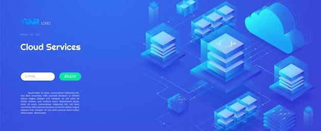 Cloud-computing-service-technologie, cloud-rechenzentrum und big-data-analyse-technologiekonzept. isometrische vektorillustration der netzschablone Premium Vektoren