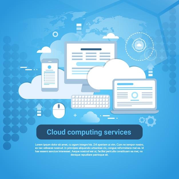 Cloud computing services template-web-banner mit textfreiraum Premium Vektoren