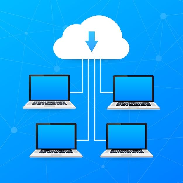 Cloud computing . verschiedene geräte wie smartphone, laptop sind mit der cloud verbunden. illustration Premium Vektoren