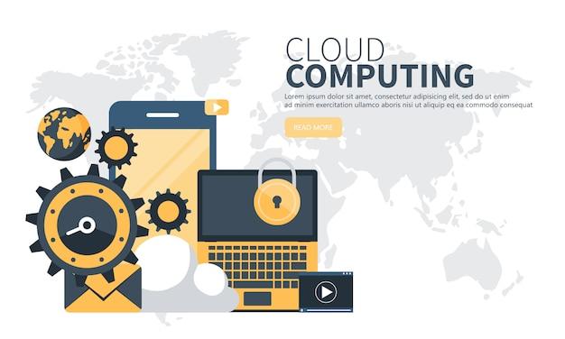 Cloud-computing-website-banner Premium Vektoren