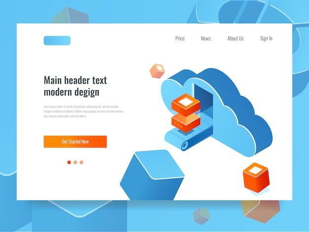 Cloud-datenspeicher, remote-serverraum, cloud mit förderband und datenblock Kostenlosen Vektoren