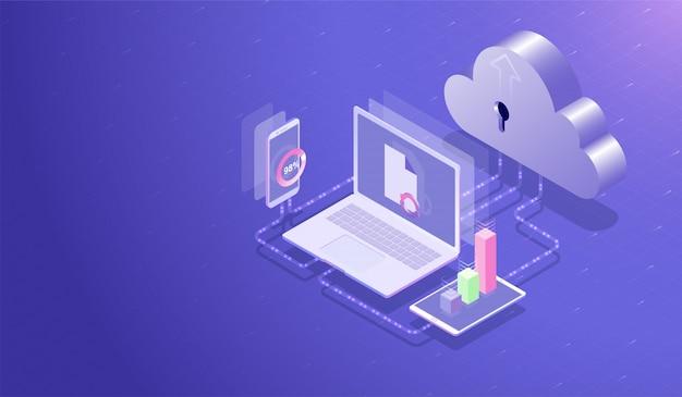 Cloud-datenspeicherzentrum und cloud-computing-konzept Premium Vektoren