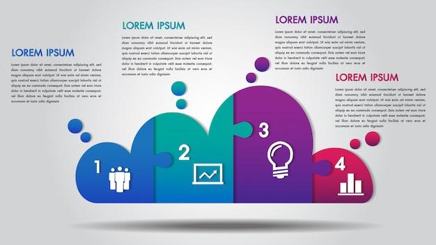 Cloud-design-business-infografiken 4 schritte Premium Vektoren
