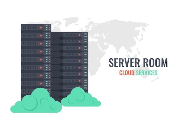 Cloud-dienste, server-rack auf welt kartenhintergrund mit wolken Premium Vektoren