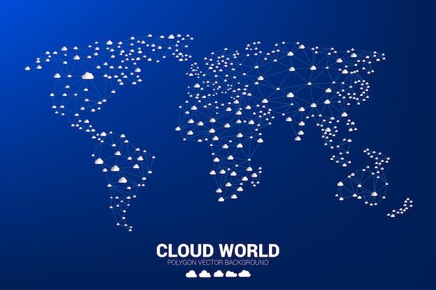 Cloud-Netzwerk Weltkarte Drahtmodell Polygon Punkt Verbindungslinie ...