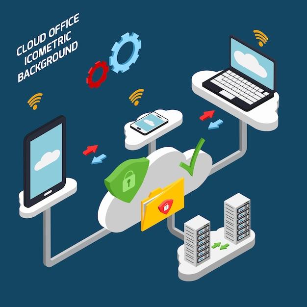 Cloud office und technologie isometrisch Kostenlosen Vektoren