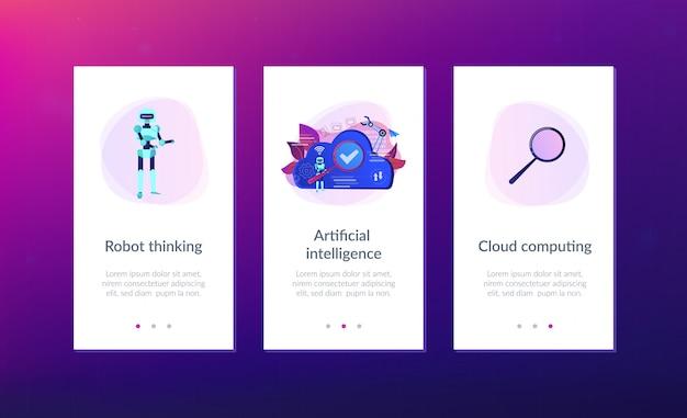 Cloud robotics app schnittstellenvorlage. Premium Vektoren