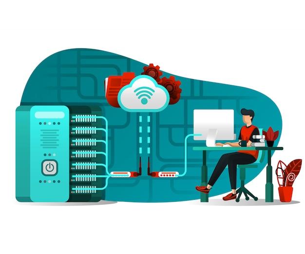 Cloud-server-schnittstellentechnologie Premium Vektoren