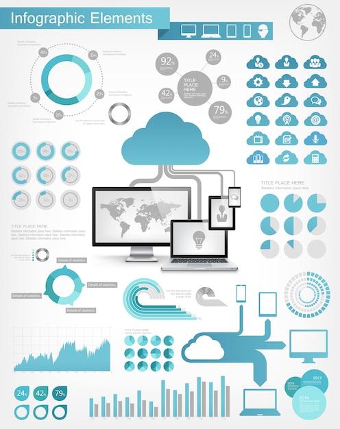 Cloud service infografik-elemente Premium Vektoren