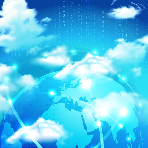 Cloud-speicher in der weltkugel Kostenlosen Vektoren