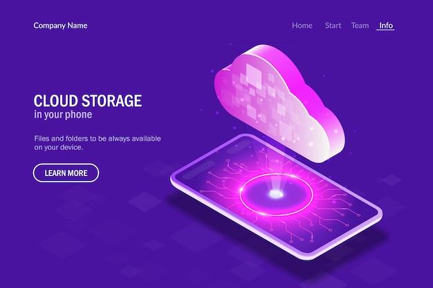 Cloud-speicher in ihrem telefon. hologrammwolken auf dem hintergrund des smartphones Premium Vektoren