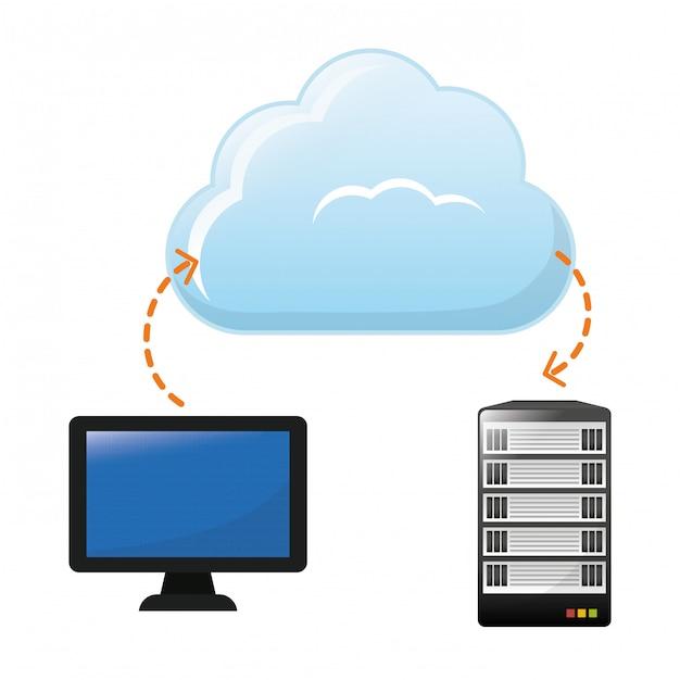 Cloud-speicher-symbolbild Premium Vektoren