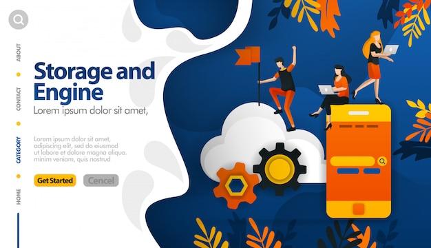 Cloud-speicher und maschinen im speicher sichern den speicherprozess Premium Vektoren
