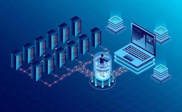 Cloud-speichertechnologie für rechenzentrums-serverräume und big data-verarbeitung Premium Vektoren